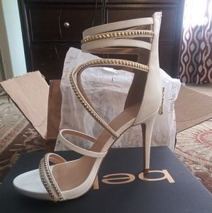 White & Gold Bebe Strappy Sandals